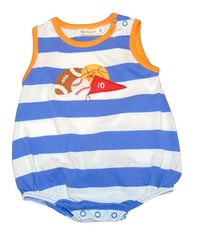 Luigi Boys Favorite Sports Sleeveless Blue Stripe Romper with Sports Motif. Peruvian Cotton. Softest Cotton in the World.