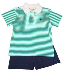 Luigi Boys Green Strip Knit Polo Shirt with Palm Tree Embroidery and Matching Navy Shorts. Peruvian Cotton.