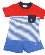 Luigi Boys Lighthouse Knit Shirt and Matching Shorts. Peruvian pima cotton