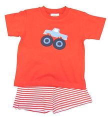 Luigi Boys Monster Truck Knit Shirt and Matching Shorts. Peruvian pima cotton