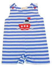 Luigi Boys Sail Away on Ship Sleeveless Blue Stripe Romper with Ship Motif. Peruvian Cotton. Softest Cotton in the World.