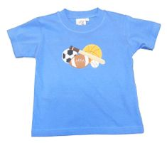 Luigi Boys Sports Ball on Blue Knit Shirt. Peruvian Cotton. Softest Cotton in the World.