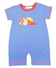 Luigi Boys Sports Balls blue Romper with Sports Balls Motif. Peruvian Cotton. Softest Cotton in the World.
