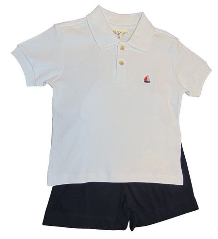Luigi Boys White Knit Polo Shirt with Sailboat Embroidery and Matching Navy Shorts. Peruvian Cotton.