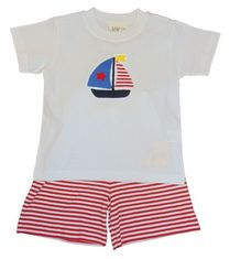 Luigi Boys White Knit Shirt with Sailboat Embroidery and Matching Red Stripe Shorts. Peruvian Cotton.