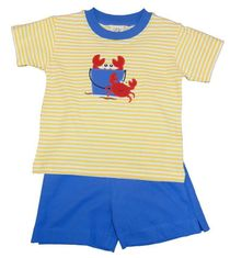 Luigi Boys Yellow Strip Knit Shirt with Crabs in Bucket Motif and Matching Shorts. Peruvian Cotton.