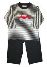 Luigi Car on Navy Stripe Long Sleeve Soft Knit Peruvian Cotton Shirt and Matching Navy Pants.