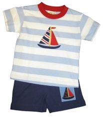 Luigi Catching the Wind Blue and White Knit Shirt with Sailboat and matching Navy Shorts with Sailboat Patch. Peruvian Cotton.