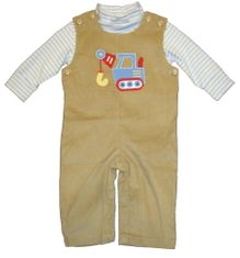 Luigi Charlie the Crane on a soft tan overall and blue and white stripe knit shirt. Peruvian cotton.
