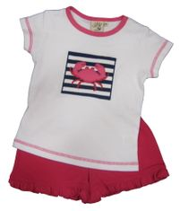 Luigi Crab Feast Soft Knit Stripe Shirt with a Crab appliqued and matching pink knit shorts. Peruvian pima cotton.