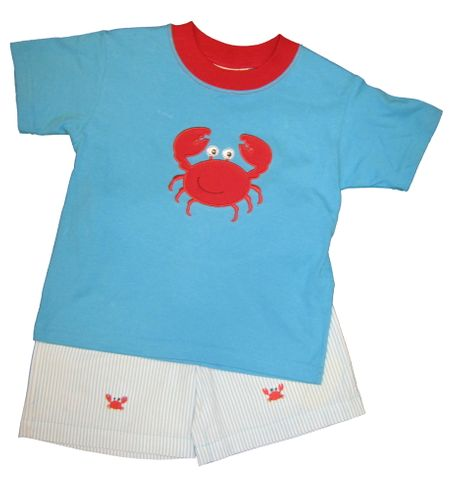 Luigi Crab Hunt Soft Knit Turquoise Shirt with a Carb appliqued and matching stripe cotton shorts with crabs embroidered. Peruvian pima cotton.