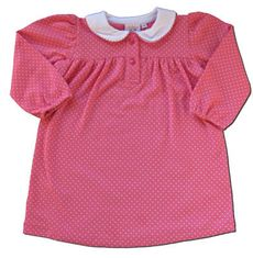 Luigi Dippin Dots fuchsia with white dots cotton dress. The girls love this dress.