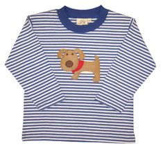 Luigi Dog on Blue Stripe Long Sleeve Peruvian Cotton Shirt.