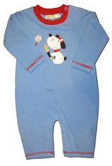 Luigi Doggie Baseball Romper. Soft pima cotton.