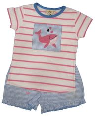 Luigi Dolphin Love Soft Knit Stripe Shirt with a Dolphin appliqued and matching shorts with dolphins embroidered.