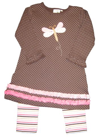 Luigi Dragonfly on a Brown Polka Dot Dress with Ruffle Collar and matching leggings.