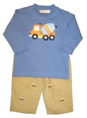 Luigi Dumptruck on Blue Long Sleeve Soft Knit Peruvian Cotton Shirt and Matching Khaki Corduroy Pants with Dumptrucks Embroidered.