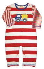 Luigi Dumptruck on Red and White Long Sleeve Soft Knit Peruvian Cotton One Piece that snaps in the inseam.