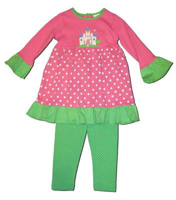 Luigi Fairytale Castle twirly dress with matching lime dot leggings. Soft pima cotton.