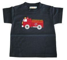 Luigi Firetruck blue and red short sleeve soft knit cotton shirt