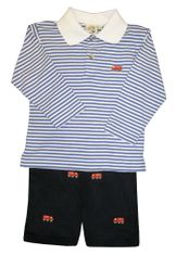 Luigi Firetruck Embroidery on Blue Stripe collar Shirt and matching Firetruck Embroidered Pants in Peruvian Cotton.