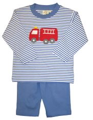 Luigi Firetruck on Blue Stripe Long Sleeve Soft Knit Peruvian Cotton Shirt and Matching Blue Pants.