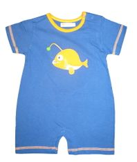 Luigi Fisher Baby soft knit one piece with sleeves and fish appliqued. Peruvian pima cotton.