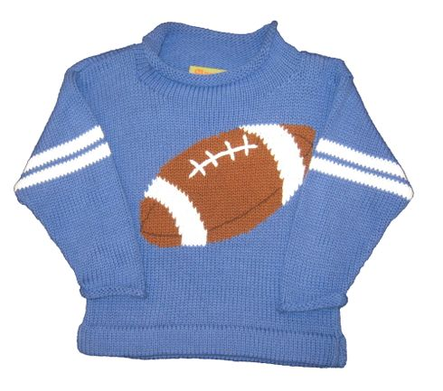 Luigi Football Motif on Blue Long Sleeve Peruvian Cotton Sweater.