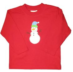 Luigi Frosty the Snowman on a soft long sleeve red shirt in Peruvian cotton.