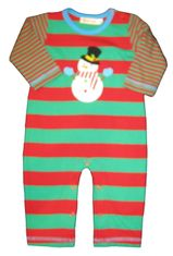 Luigi Frosty the Snowman on a soft red and green stripe Peruvian cotton onepiece.