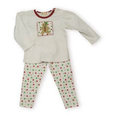 Luigi Gingerbread Celebration white shirt with a gingerbread man picture on the front and green and red polka dot leggings.