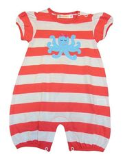 Luigi Girls Coral Stripe Romper with Octopus and Bow Motif. Peruvian Cotton. Softest Cotton in the World.