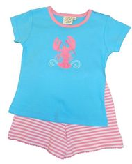 Luigi Girls Lobster Short Set with Lobster Motif and Matching Shorts. Peruvian Cotton. Softest Cotton in the World.