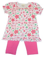 Luigi Girls Pink Floral Legging Set with Flower Print and Matching Leggings. Peruvian Cotton.
