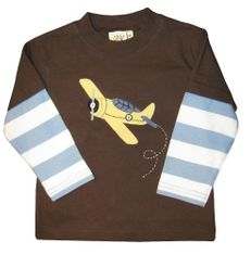 Luigi Go Fly a Plane on a soft long sleeve brown shirt in Peruvian cotton.