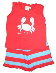 Luigi Going Crabbing red tank knit shirt with a crab appliqued and matching shorts.
