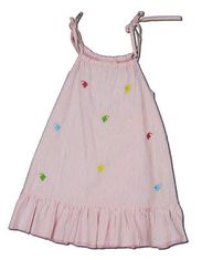 Luigi Great Living pink striped seersucker tie dress with embroidery. Very comfortable and cute.