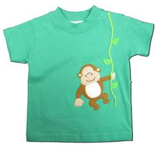 Luigi Hanging Like a Monkey green shirt with a monkey on the front.