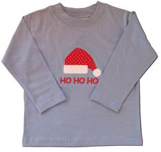 Luigi Ho Ho Ho blue soft cotton knit shirt with a santa hat appliqued on it.