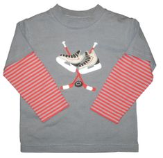 Luigi Hockey Equipment on a soft grey knit shirt with red stripe sleeves. Peruvian soft cotton.