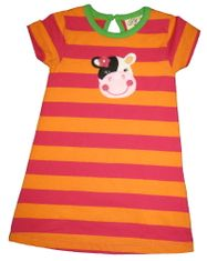 Luigi I Love Cows Fuchsia and Orange knit Dress with Cow Appliqued. Peruvian Cotton.