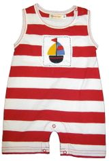 Luigi I Love Sailboats Sleeveless Red and White One Piece with Sailboat Patch. Peruvian Cotton.