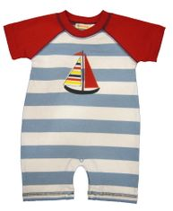 Luigi I Love Sailboats soft knit one piece with sleeves and sailboat appliqued. Peruvian pima cotton.