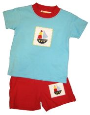Luigi I Love Sailboats Turquoise Knit Shirt with Sailboat Patch and matching Red Knit Shorts with Sailboat Patch. Peruvian Cotton.