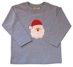 Luigi I Love Santa soft cotton blue knit shirt with a santa face appliqued on it.