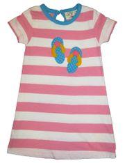 Luigi I Love Summer with Sandals on a Pink and White knit Dress with Flip Flips Appliqued. Peruvian Cotton.