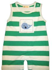 Luigi I Love Whales Sleeveless Green and White One Piece with Whale Patch. Peruvian Cotton.