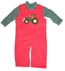 Luigi John the Tractor on a soft red overall and navy and green stripe knit shirt. Peruvian cotton.