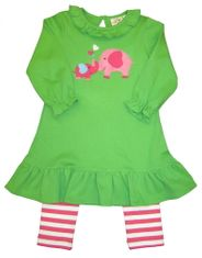 Luigi Mama and Baby Elephant on Long Sleeve Stripe Tunic with Matching Leggings in Peruvian Cotton.