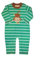 Luigi Michael the Monkey on a soft green stripe onepiece in Peruvian cotton.